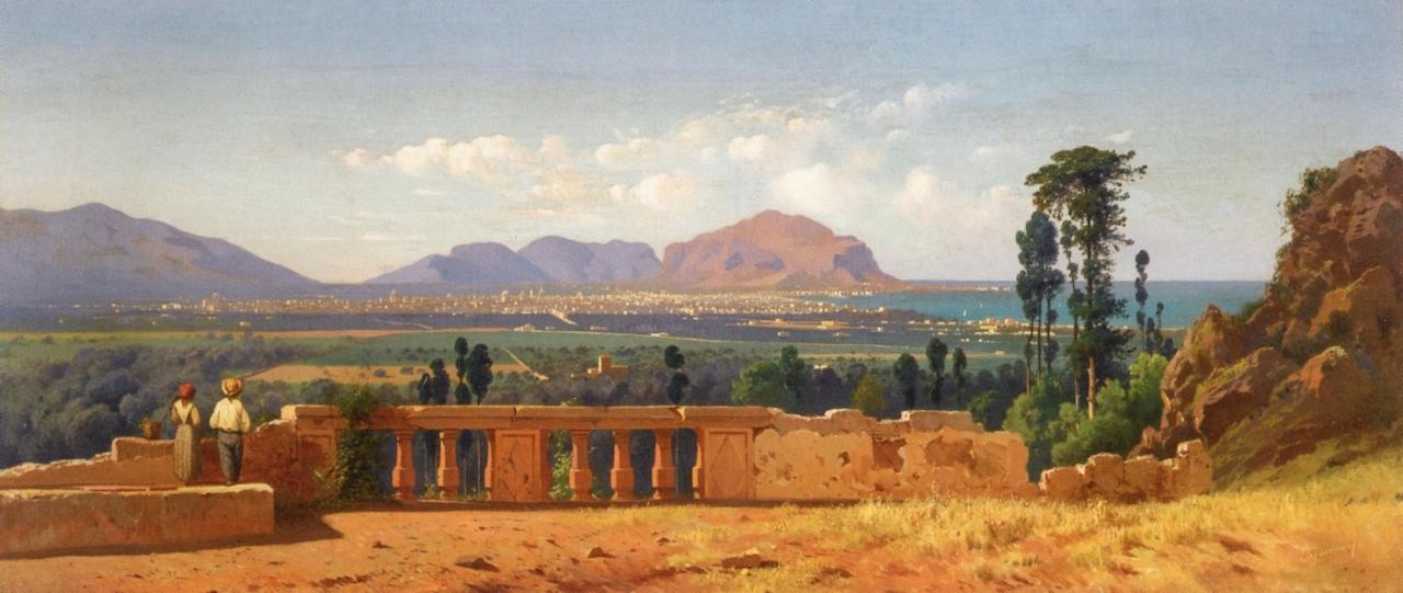 """Francesco Lojacono (1838-1915), <em>Palermo e il Monte Pellegrino</em> (1874). Olio su tela, 41 x 94 cm"" by The Atenaeum via Wikimedia Commons (Public Domain)"