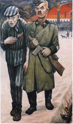 """© David Olère, """"En marche pour l'écoute forcée de la BBC"""", date inconnue, huile sur toile, 163 x 98 cm, Musée d'Auschwitz."""