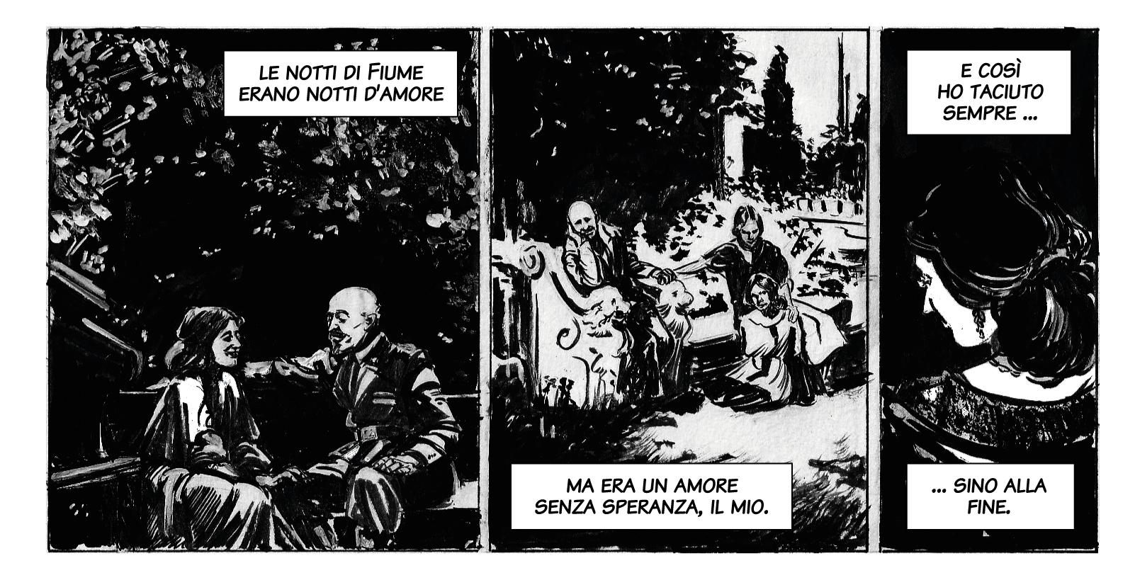 Amore senza speranza / Luisa Baccara con la sorella e Gabriele D'Annunzio. Disegno di Giulia Giaccaglia ©