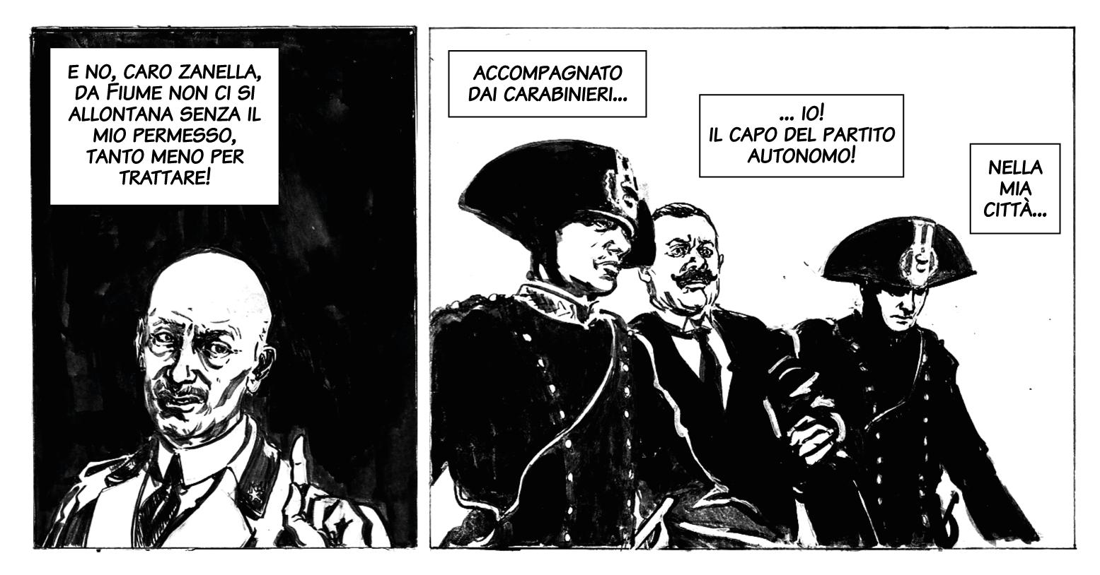 Zanella tratto in arresto / Zanella fra i carabinieri. Disegno di Giulia Giaccaglia ©