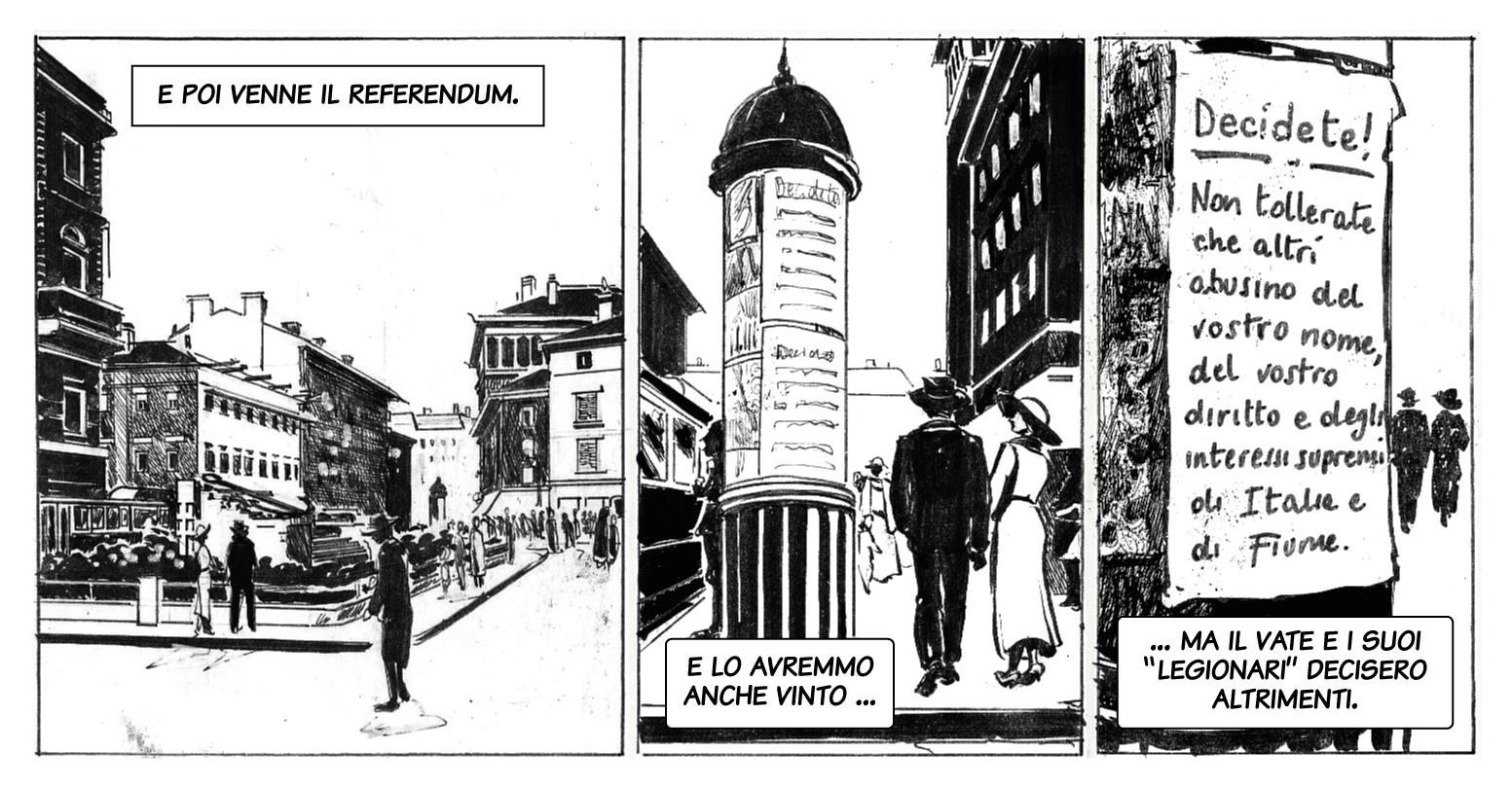 Il referendum a Fiume / Il referendum a Fiume. Disegno di Giulia Giaccaglia ©